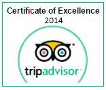 TripAdvisor Certificate of Excellence year 2014