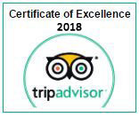 TripAdvisor Certificate of Excellence year 2017